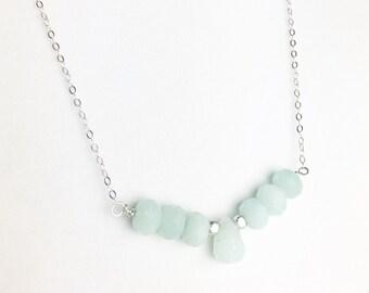 Calcite Necklace - Blue Gemstone Necklace - Blue Calcite Necklace - Sterling Silver Necklace - Silver Blue Necklace - Blue Necklace