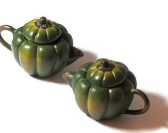 Vintage Doll Tea Kettles Green Melon Shaped Two