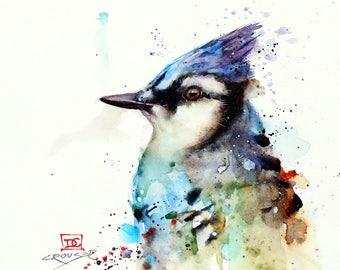 BLUE JAY Watercolor Bird Print by Dean Crouser