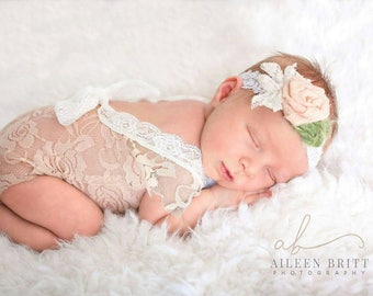Newborn girl lace romper set, red pink mocha ivory lace photo outfit baby girl open back romper newborn photography lace