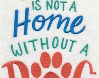 House with a Dog Embroidered Towel   Tea Towel   Kitchen Towel   Embroidered Tea Towel   Dish Towel   Flour Sack Towel