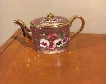 Ayshford fine bone china summer pansy miniature teapot