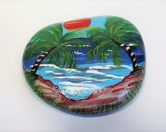 Tropical Hawaiian Beach Sunset Hand Painted Rock
