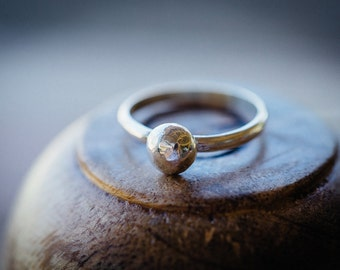 Simple silver ball ring