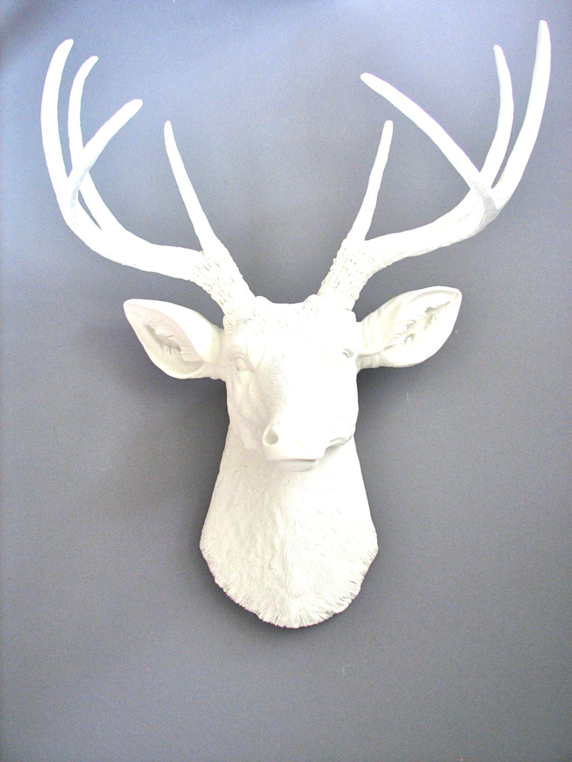 WHITE Deer Head Faux Taxidermy Wall Mount Stag Head Wall