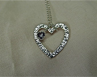 silver heart pendant with heart amethyst