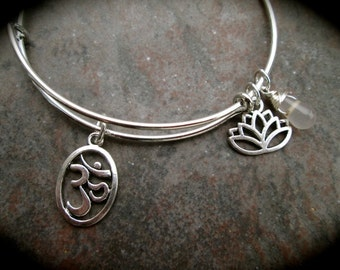 Yoga theme bangle bracelet with Om, Lotus and Fluorite gemstone dangle charms adjustable wire bangle  bracelet