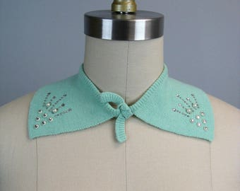 Vintage 1950s Collar 50s Mint Green Knit Collar with Rhinestone and Stud Detail One Size