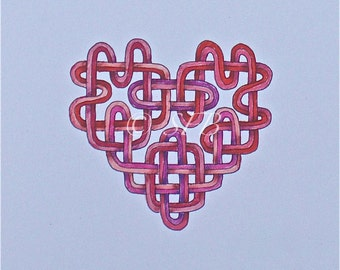 Celtic Heart Print with Pink and Red Ribbons