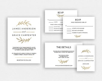 Wedding Invitation Template | Wedding Invitation Printable | Wedding Invite Template | Wedding Suite | Instant Download | EDN 5329 Gold