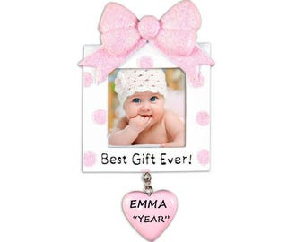Personalized Picture Frame Ornament for Girl - Celebrating an Adopted Baby Girl or New Baby  - Baby's Girl's 1st Christmas Ornament
