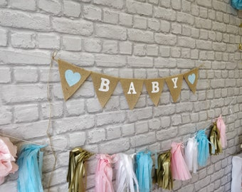 BABY Decoration, Garland, burlap banner, Rustic pendants Decor Photo Props Baby Shower Gender Reveal