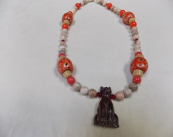 Beaded necklace ,hand made,one of a kind  stone cat