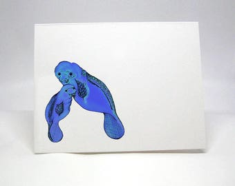 Manatee, Personalized Note Card, Thank You Notes, Personalized Gift, Manatee Notecards, Kids Thank You Notes, Children's Stationery 14001166