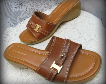 Women's sandals, Leather sandals, Brown sandals, Slip on shoes, Slide on shoes, Stylish sandals, Cute sandals