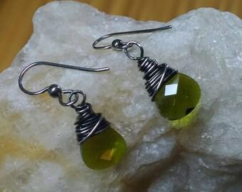 0livine Green Crystal & Sterling Wrapped Earrings