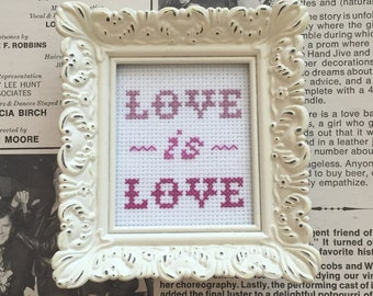 "Love Is Love Framed Handmade Cross-Stitch 2.5""x3.5"" - Donation to Sorority Theater Projects LLC"