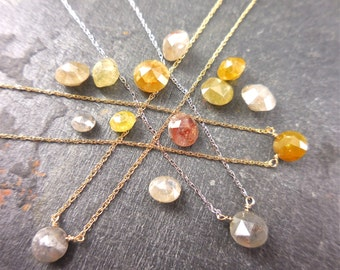 Rose Cut Diamond Necklace, Custom Made to Order, Gray Diamond, Hand Made Diamond Necklace, 14k Yellow, White, Rose Gold