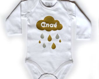 """White Bodysuit ML """"Cloud"""" gold and silver personalized with name"""