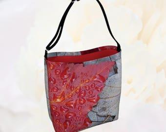 Maple Leaf Print Bag, Gray Red Crossbody Bag, Botanical Print Tote Bag, Nature Photo Shoulder Bag, Neoprene Sling Bag, Fall Tote Gift Idea