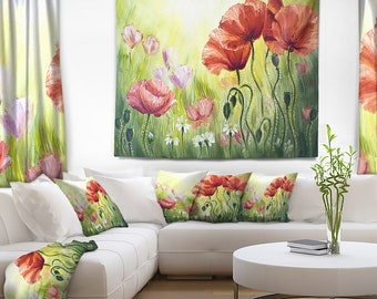 Designart Poppies in Morning Floral Wall Tapestry, Wall Art Fit for Wall Hanging, Dorm, Home Decor
