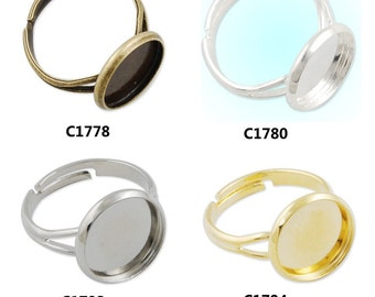 50PCS Adjustable Shallow bottom Ring Base Setting Pendants With 12 MM round bezel, fit 12mm round cabochons