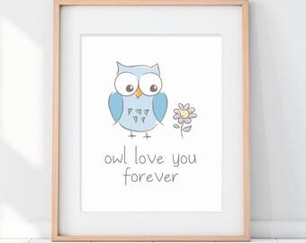 Owl Kids Decor, Owl Nursery Decor, Owl Art Print, Owl Love You Forever, Blue Nursery Decor, Blue Kids Poster, Owl Baby Shower, Kids Poster