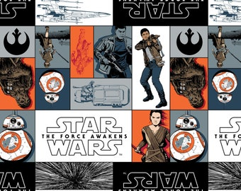 Star Wars Fabric - Rebel Cast of Characters  - Force Awakens Licensed Fabric - Camelot 7360101 Gray Orange White - Priced by the 1/2 yard