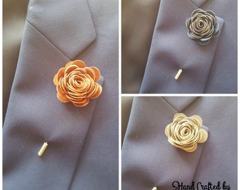 Faux Leather Rose Flower lapel pin boutonniere hat pin - Mens or Ladies