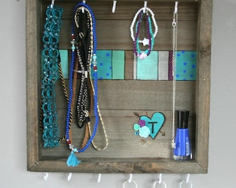 Customized Wood burned Jewelry Organizer Holder Wall mount Teen Tween Room Decor customize with your favorite colors, initials, or quote