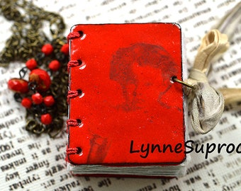 Red Enamel Book Necklace With Vintage Girl Image