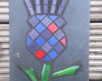 Unique, colourful, tartan scottish, mosaic thistle on slate for garden, souvenir or gift
