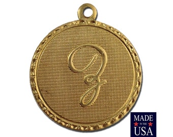 Raw Brass Letter Z Initial Charm Drop with Loop (1) chr190Z