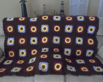 Crocheted Blanket with Sunflowers, Crocheted Blanket, Holiday Gift, One Of A Kind
