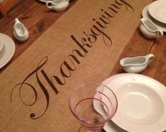 Burlap Table Runner with Thanksgiving in the center - Thanksgiving runner Holiday decorating Holiday runner