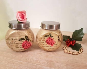 Shabby chic Set if two jars with lid