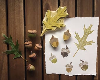 Oak Leave and Acorns Rubber Stamp Set | Northern Pin Oak