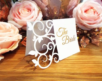 Laser Cut Foil Place Name Cards. Real Foil Rose Gold Silver Wedding Tented Name Cards. Swirl Wedding Table Cards.