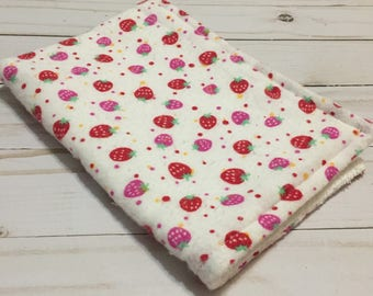 Strawberry print flannel & terry cloth burp cloth