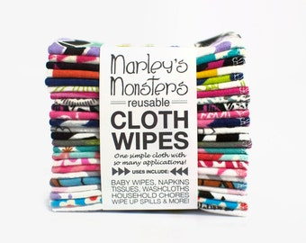 24 Reusable CLOTH WIPES in bold and graphic flannel prints. You choose prints