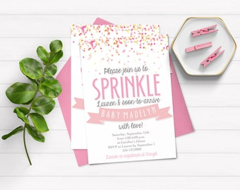 Baby Sprinkle Invitation - Baby Shower Invitation - Sprinkle With Love - Pink Sprinkle Invitation