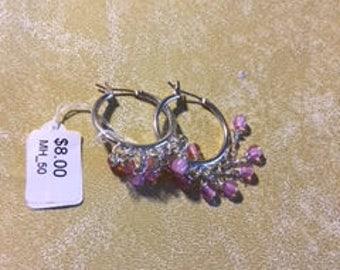 pink dangling cat eye earrings