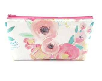 Makeup Bag, Cosmetic Bag, Zip Pouch, Pencil Case, Zipper Bag, Bridesmaid Gift - Watercolor Floral
