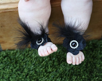 Baby shower, Barefoot sandals ~ Black Flower Sandals, Toddler Sandals, Newborn Sandals, Baby Flower Sandals, Flower girl sandals, baby shoes