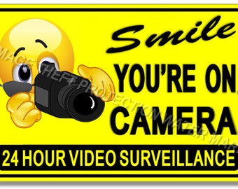"Smile You're On Camera Video Surveillance Warning Sign 8""x12"" Brand New Yellow"