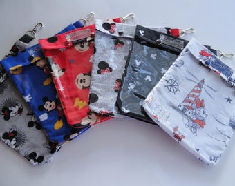 Mickey Mouse 6 Pack Clear Clip Pouch 6x8 Disney Cruise Fish Extender Door Pocket Gift First Aid Supplies Luggage Organizer