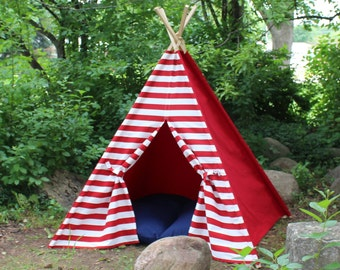 Teepee Ready to Ship KIds Play Tent Red and White, Can Include Window, Kids Tee Pee