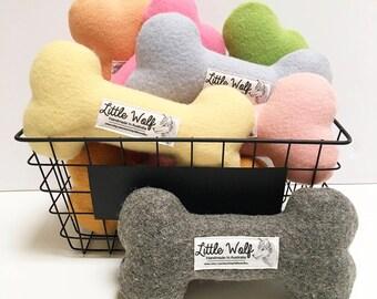 Toy Dog Bone, Pure Wool Dog Toy, Handmade Dog Toy, Cute Dog Softie, Little Wolf Toy, Bone Dog Toy, Dog Squeaker Toy, Unique Stylish Dog Toy
