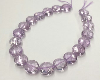 10 PCS Pink Amethyst Faceted Coin, Pink Amethyst Beads, DIY Supplies, Jewelry Supplies