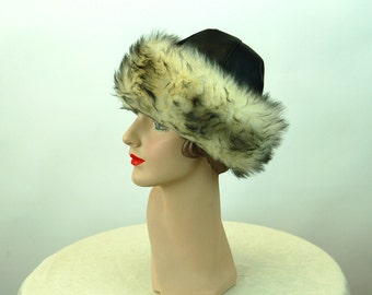1960s winter hat fur hat black vinyl and faux fur Betmar hat